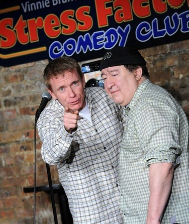 Vinnie Brand, a comic and the owner of the Stress Factory, and comic Dom Irrera pose for a photo at the New Brunswick-based club in 2014. (Courtesy of the Stress Factory)