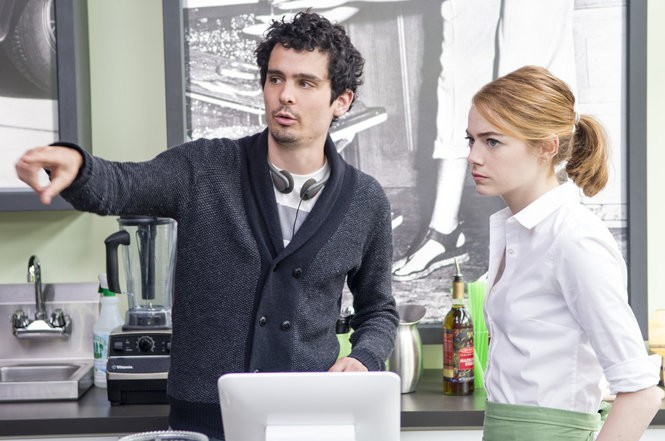 Director Damien Chazelle and Emma Stone on the set of 'La La Land.' (Dale Robinette)