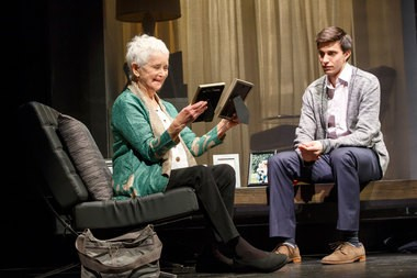 """Barbara Barrie plays the grandmother of Gideon Glick's Jordan in the new comedy-drama """"Significant Other,"""" now playing on Broadway (Photo by Joan Marcus)"""