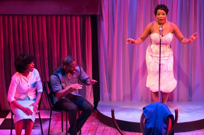 "Marva Hicks, Curtiss Cook and Tamar Davis star in the world premiere of Stephanie Berry's ""Sarah Sings a Love Story,"" playing at Crossroads Theatre Company through March 26 (Photo by Scott Mendenko)"