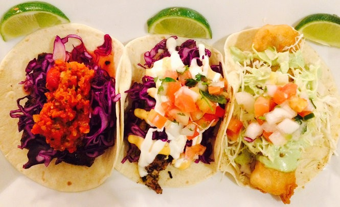 From left, grilled mahi tacos, blackened sole tacos and battered cod tacos at Fat Fish Taco in Caldwell.
