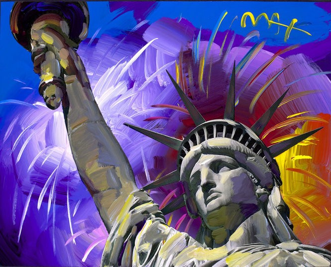'Statue of Liberty Fireworks' by Peter Max. Copyright Peter Max 2017. (Photo provided by Ocean Galleries)