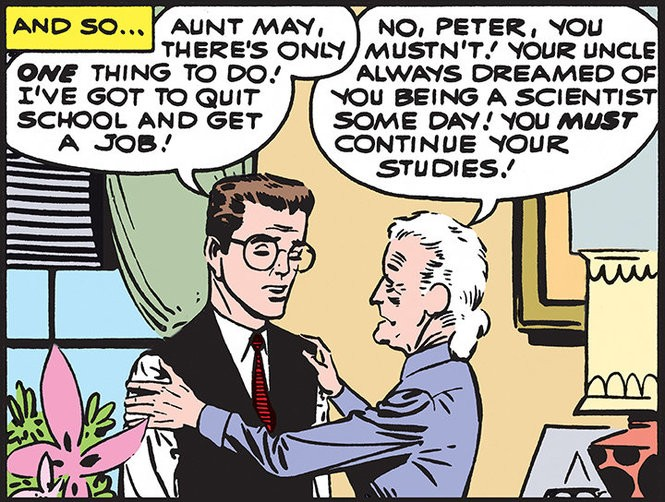 """Peter and May Parker have a tense family discussion in """"The Amazing Spider-Man"""" No. 1 (1963), in artwork by Steve Ditko. [Marvel Comics]"""