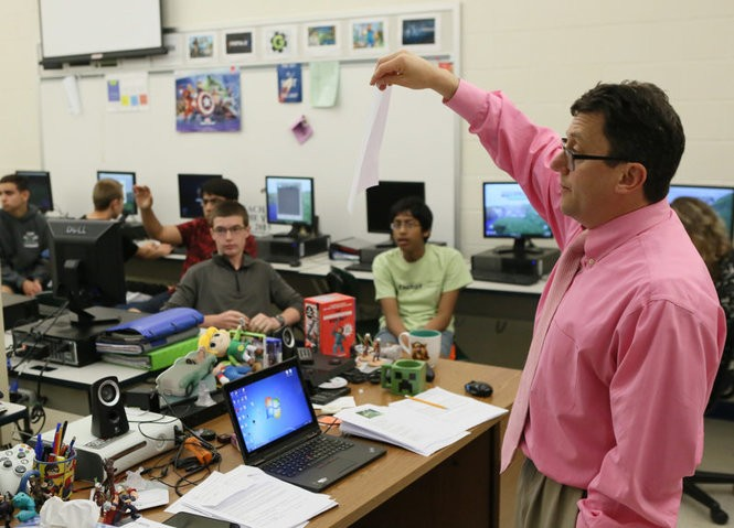 Steven Isaacs teaches game design at William Annin Middle School in Basking Ridge and was never a fan of giving homework. 'It's not about the learning, it's about the finishing the homework, and that really bothers me,' Isaacs says. (Stuart Ramson for Microsoft)