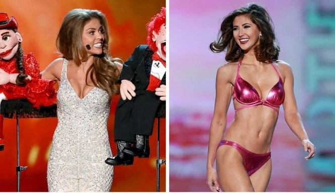 Laryssa Bonacquisti, at left, and Sara Zeng, at right, won awards in the last night of preliminary competition at Miss America. (Tim Hawk | For NJ.com)