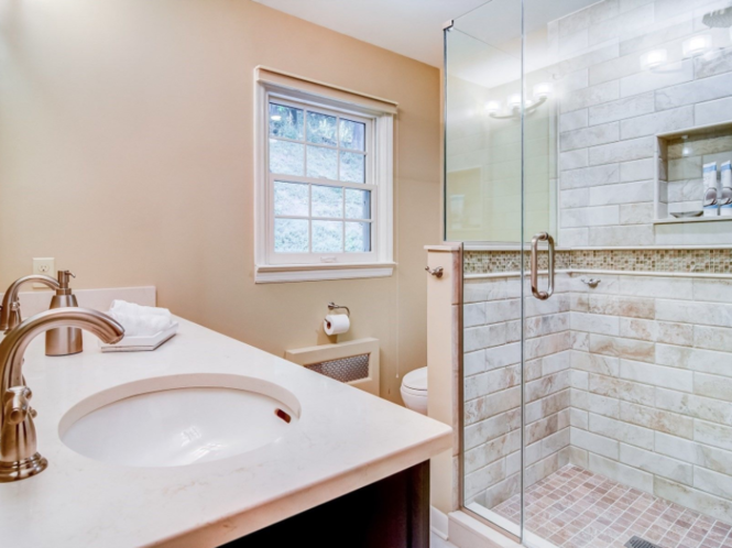 One of the redone bathrooms of the Montclair home. (Trulia)