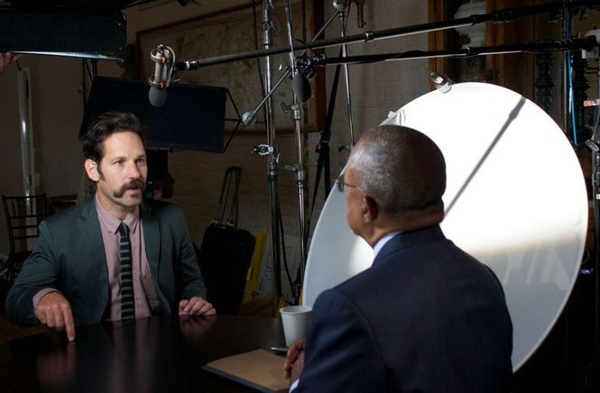 Paul Rudd in a scene from the PBS series 'Finding Your Roots.' Rudd, a Passaic native, discovers details about his Jewish family's history in England and Eastern Europe.