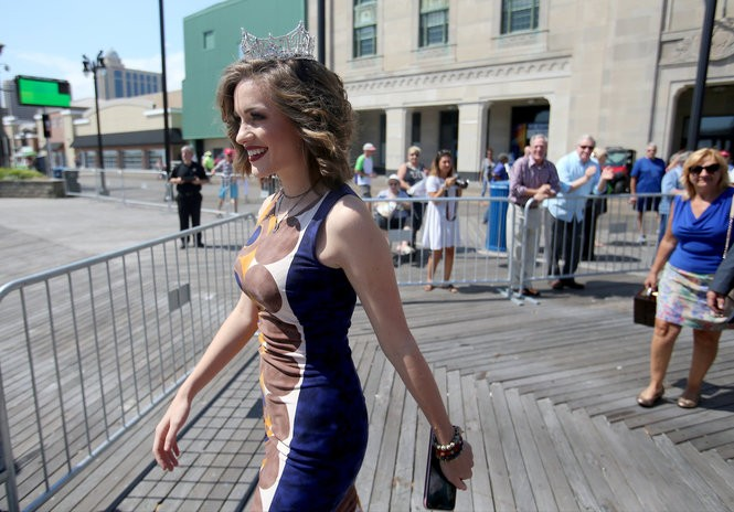 Miss America 2016, Betty Cantrell, in Atlantic City for the contestant arrival ceremony welcoming 2017 contestants, had to hide her ring and keep the big news under wraps after she got engaged towards the end of her reign. (Tim Hawk | For NJ.com)
