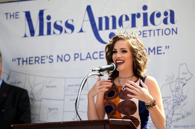Miss America 2016, Betty Cantrell, speaks to contestants about her reign in Atlantic City ahead of the 2017 Miss America competition. Cantrell said she was told she could only address the Miss America class for a limited time and later found out it was because organizers feared what she would say about the pageant. (Tim Hawk | For NJ.com)