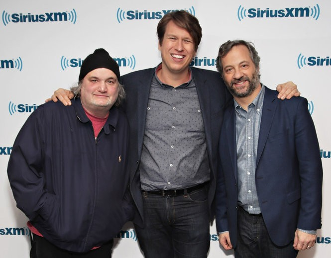 Artie Lange, at left, with 'Crashing' star Pete Holmes and executive producer Judd Apatow in February 2017. Lange will appear in the second season premiere of the show on Jan. 14. (Cindy Ord | Getty Images)