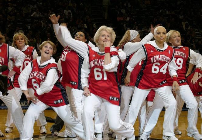 The NETsational senior hip-hop dance team makes its center court debut in Dori Berinstein's 2008 documentary 'Gotta Dance,' the story that inspired the musical. (New Jersey Nets)