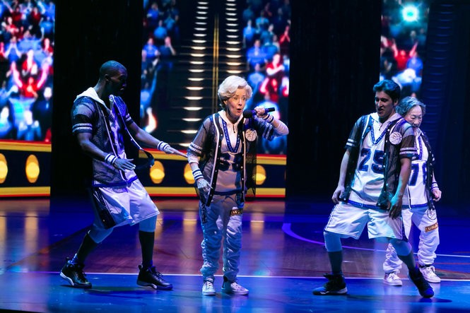 From left: Garrett Turner, Georgia Engel (Dorothy/Dottie), Alexander Aguilar and Lori Tan Chinn (Mae) in 'Half Time.' Engel's character, inspired by a dancer in the documentary 'Gotta Dance,' has an alter ego named Dottie who raps and leads the senior dance team. (Jerry Dalia)