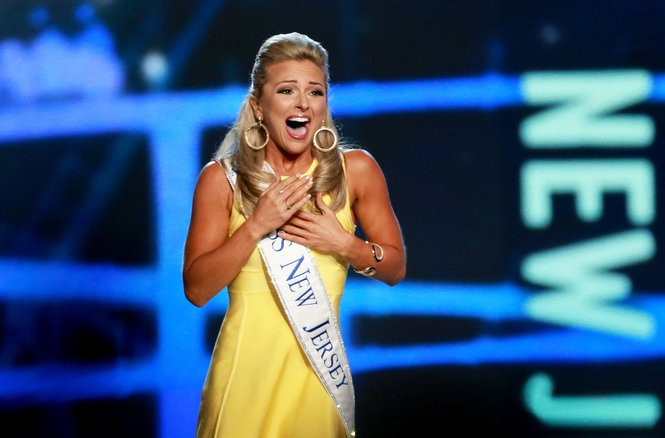 Kaitlyn Schoeffel reacts to being announced as one of the top 15 contestants during the Miss America pageant in 2017. (Tim Hawk | For NJ.com)