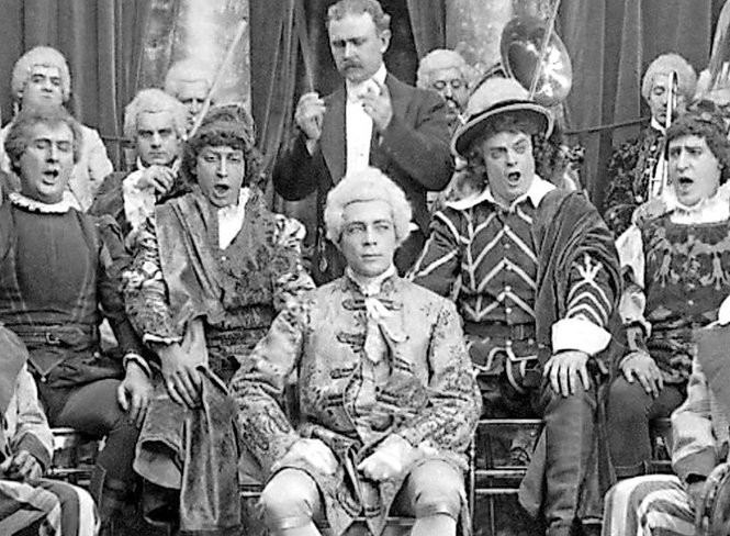 """A scene from """"The Edison Minstrels"""" (1913),a surviving kinetophone film."""
