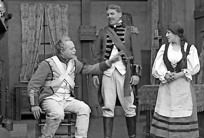 """A scene from """"The Old Guard"""" (1913),a surviving kinetophone film."""