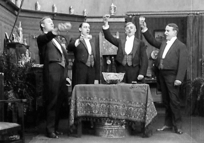"""A scene from """"The Five Bachelors"""" (1913),a surviving kinetophone film."""