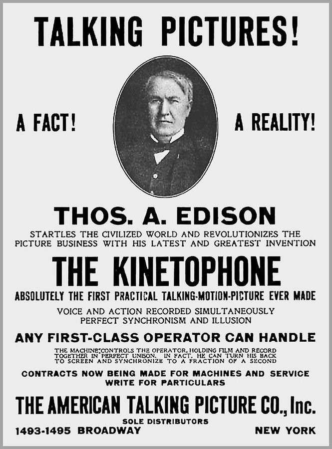 An advertisement for Edison's kinetophone.