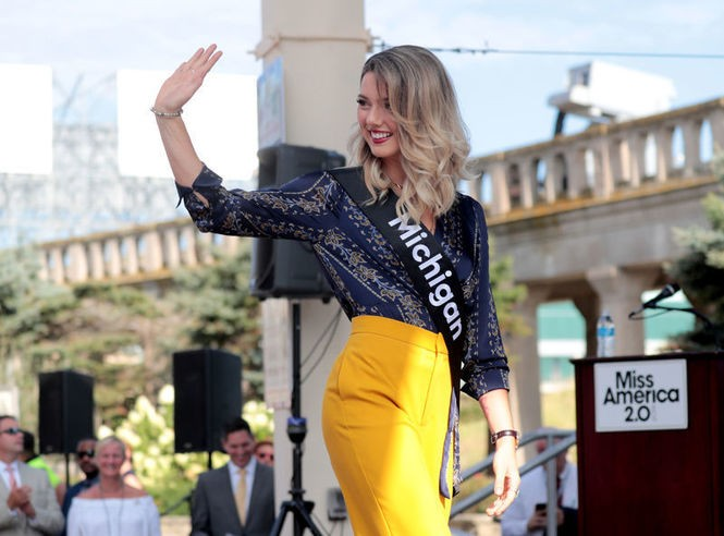 Emily Sioma, Miss Michigan, waves hello to the crowd in Atlantic City at the pageant arrival ceremony on August 30. 'When we take away swimsuit, we're not getting rid of objectification,' she says. (Tim Hawk   NJ Advance Media for NJ.com)