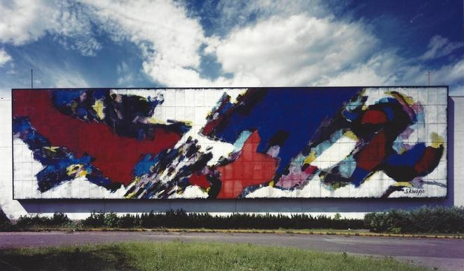 The Stefan Knapp mural at Alexander's in Paramus served as a landmark for decades. The store closed in 1992 and the mural went into storage. In recent years, panels from the huge work of art were put up for display. But many who remember the bold scene are calling for the mural to be displayed again as a whole work. (Bergen Museum of Art and Science)