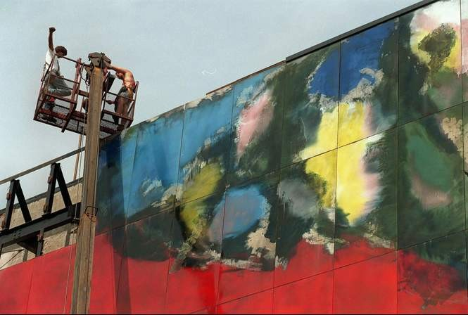 In 1998, a crew from Paterson removed panels from the Alexander's mural in Paramus. Each measured 4 feet by 7 feet, 8 inches. The panels were stored in a Carlstadt public works garage. (Star-Ledger file photo)
