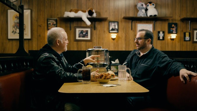 Matt Zoller Seitz, left, and Alan Sepinwall at the famous booth at Holsten's in Bloomfield, where 'The Sopranos' faded to black.