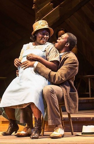 "Danielle Brooks, of ""Orange is the New Black,"" and Kyle Scatliffe play quarreling lovers Sofia and Harpo in ""The Color Purple."""