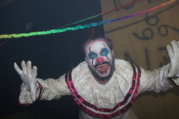One of the many psychotic clowns we encountered during our journey. This one lives at Devil's Theater at the Union County Performing Arts Center in Rahway. (Chainsaw Productions)