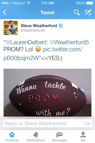 Giants punter and Hoboken resident Steve Weatherford accepted a promposal from a Bayonne teen.