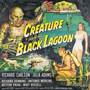 "Poster art for ""Creature From the Black Lagoon."""