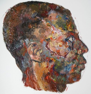 One of Elise Dodeles' oil paintings based on photographs of early 20th Century boxers. The series won her a 2013 Fellowship from the state arts council.