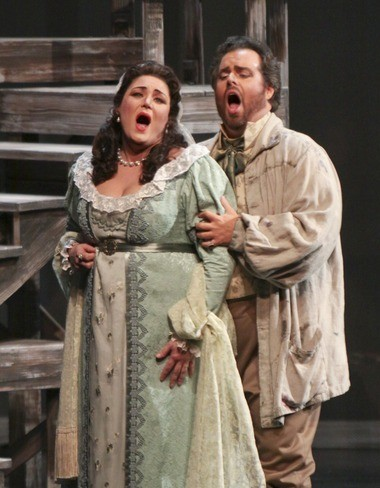 Floria Tosca (Kara Shay Thomson) with her lover Mario Cavaradossi (Jonathan Burton) in Act I of Tosca by Opera New Jersey and the New Jersey Symphony Orchestra at McCarter Theatre in Princeton, NJ February 3, 2012