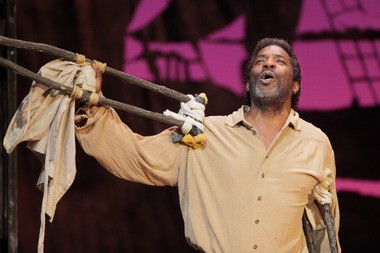 """Greg Baker plays Porgy during a rehearsal of a production of New Jersey State Opera's """"Porgy and Bess"""" at Newark Symphony Hall."""