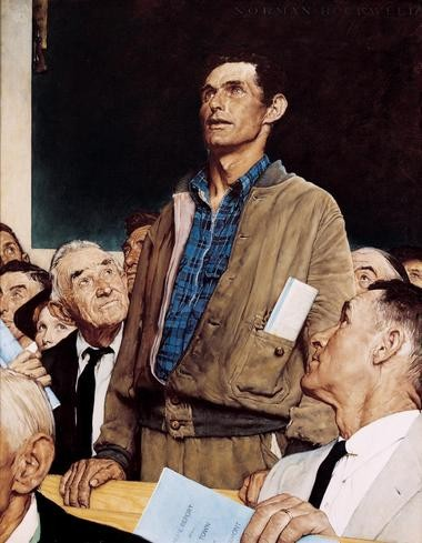 """The first of Rockwell's famous paintings of the """"Four Freedoms"""" -- """"Freedom of Speech"""" -- is part of the exhibit that just opened at the Newark Museum."""