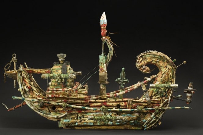 """Newark artist Kevin Sampson's """"Madjet"""" looks like an ancient Egyptian reed boat made from stuff you'd find on a downtown street."""