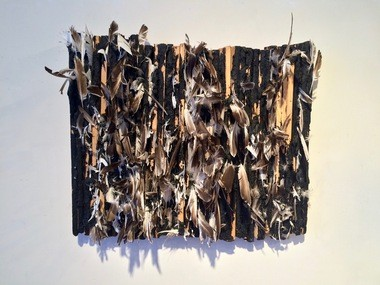 """Kenseth Armstead's """"untitled (three ruffians killed beauty)"""" invokes 18th century mob violence with its tar and feathers."""