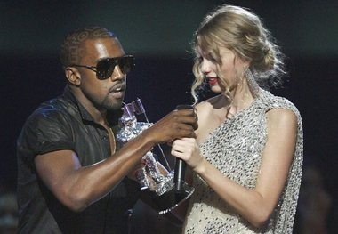 Taylor Swift gets ambushed by Kanye West at the 2009 MTV Video Music Awards.