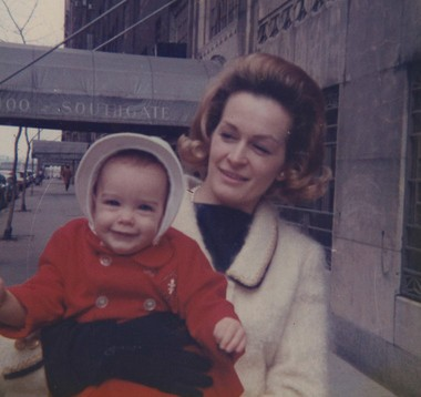 Teri Shields and baby Brooke in New York City.