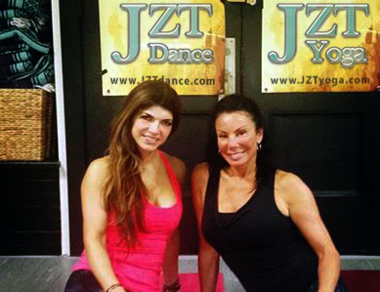 Teresa Giudice, left, and her former 'Real Housewives of New Jersey' co-star Danielle Staub had a meeting of the chakras at a yoga studio in Weehawken this week. (Courtesy Ned Taddei)