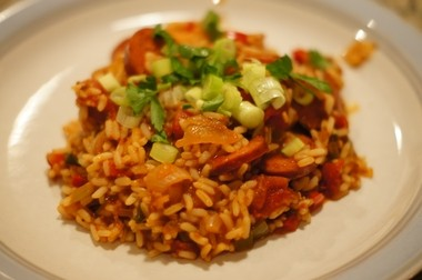 The jambalaya served to the Ravens is tasty but lower in fat, with turkey sausage and brown rice.