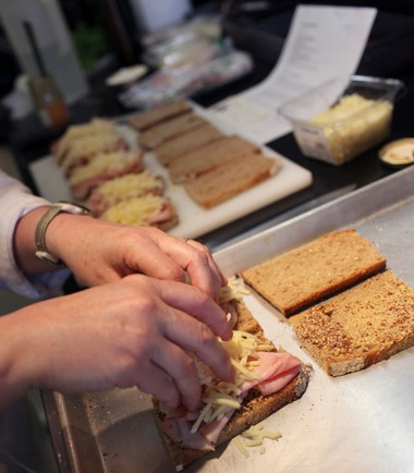 Maxwell prepares the decadent croque monsieur for her recent April in Paris cooking class.