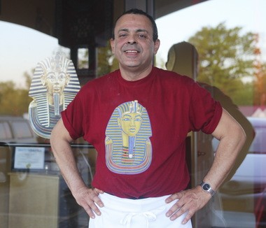 Kal Nasr, chef and owner of King Tut, wearing the appropriate T-shirt
