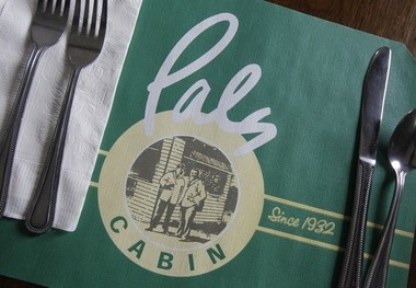 A placemat at Pals Cabin.