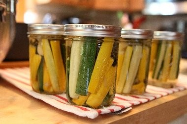 Zucchini pickles are a good way to use up a bumper crop.