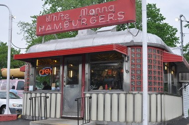 The White Manna in Hackensack is the state's most photogenic diner. Notice giant hot dog parked to the left.