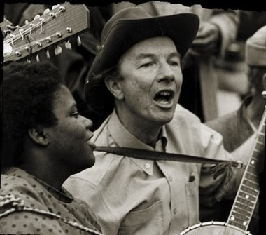 Pete Seeger, right, and Bernice Johnson Reagon sing at the Poor Peoples March, Washington in this 1968 file photo.