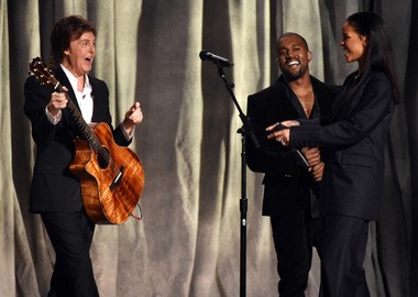 Paul McCartney, from left, Kanye West and Rihanna perform at the 57th annual Grammy Awards on Sunday, Feb. 8, 2015, in Los Angeles.