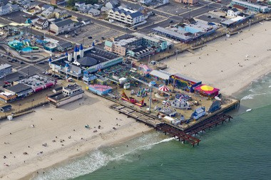 Aerial view of Casino Pier at the Seaside Heights boardwalk. Mumford and Sons' stage will be erected with the pier lighting in the background.
