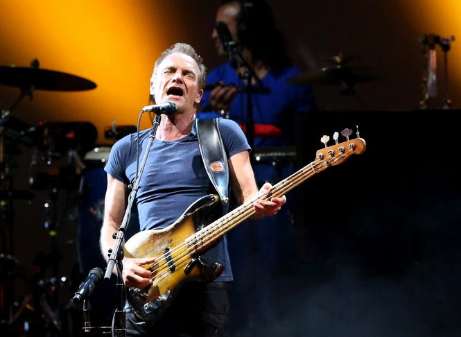 Sting performs during the Rock Paper Scissors Tour with Peter Gabriel at the BB&T Pavilion in Camden, N.J., Sunday, June 26, 2016. (Lori M. Nichols | For NJ.com)