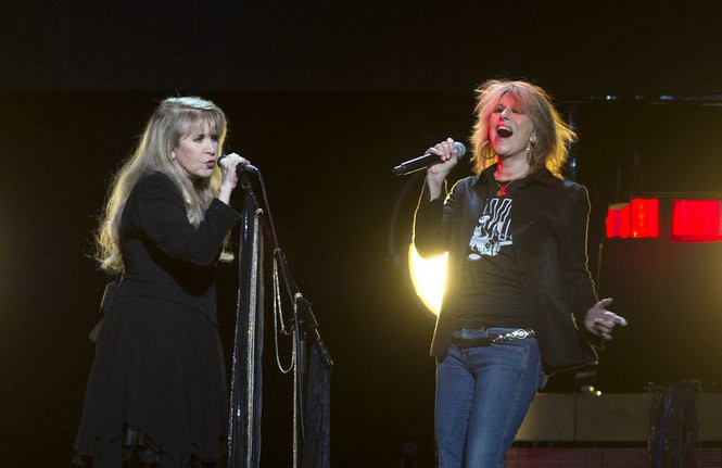 """Stevie Nicks and Chrissie Hynde sing """"Stop Draggin' My Heart Around"""" during a show Nov. 20, 2016, at the Wells Fargo Center in Philadelphia, Pennsylvania. Hynde's band The Pretenders opened the show. (Matt Smith 