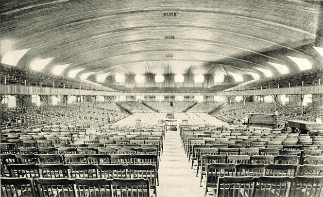 "The Ocean Grove auditorium interior (capacity 10,000), where more big events during the annual camp meeting were held. (""Asbury Park and Ocean Grove,"" 1904)"
